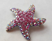 RHINESTONE PENDANT BROOCH-Beach/Resort Starfish Motif-Beautiful Hot & Light Pink Faceted Crystals-Nice Pewter Tone Setting-Great Sparkle