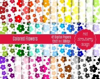 75% OFF Sale - 42 Digital Papers - Colored Flowers - Instant Download - JPG 12x12 (DP220)