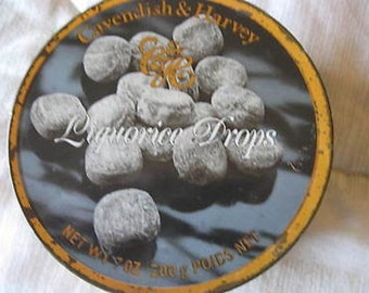 Cavendish & Harvey Liquorice Drops Candy Empty Tin Vintage CL2-16