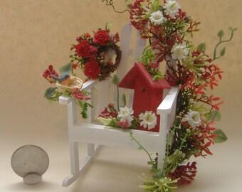 Dollhouse Miniature Adirondack Birdhouse Garden Chair one inch scale
