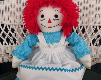 Raggedy Ann Doll Turquoise Dress Personalized 20 inches tall Handmade in the USA
