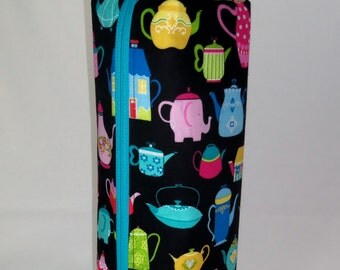 SALE Multi Colored Fun Teapots on Black Long Zippered Box Tote - knitting / crochet / spinning / drop spindle project bag