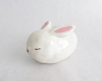 Rabbit, Ceramics and Pottery, white bunny sculpture, Slepping rabbit, ceramic animal sculpture