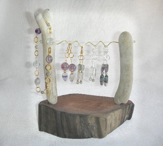 sale redwood root driftwood wire hanging earring display for