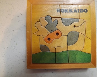 Very Unique Hokkaido Wooden Cow Puzzle with Tray