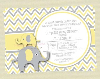 Yellow and Gray Elephant Baby Shower Invitation/Yellow and Grey Baby Shower/Elephant Printable Shower InvitationDIY Printable File