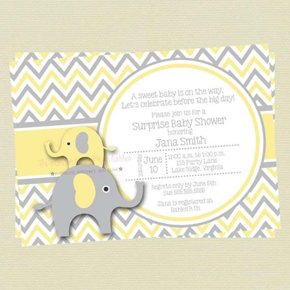 Yellow And Gray Elephant Baby Shower Invitation Yellow And