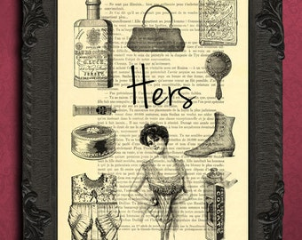 his and hers gifts poster his and her art victorian women's illustration on dictionary paper