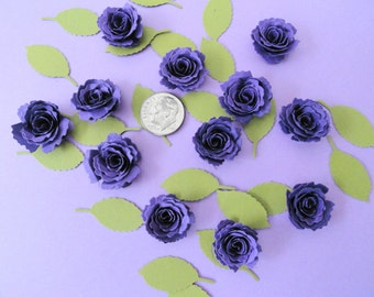 Handmade Minature Paper Roses and Leaves