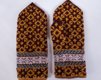 Handmade Latvian traditional double wool mittens