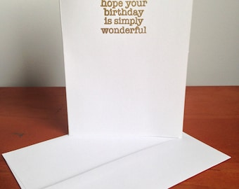 Heat Embossed Card – Simply Wonderful Birthday  in Gold on White