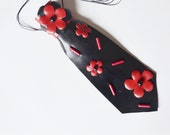 Woman Necktie-necklace, floral, red, black, OOAK, floral, handmade, appliqued, natural leather, eccentric accessory, necktie-jewelry, flower