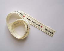Ribbon grosgrain Hand Made With Love 15mm x 1m