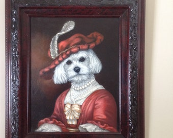 Oil on Canvas Painting Dog, Bichon Frise, Oil Painting Dog, Original Painting Dog