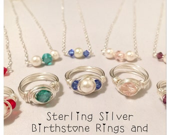 Birthstone Necklace and Ring Set-Sterling Silver and Swarovski Pearl and Crystals-Great for Little Girls!