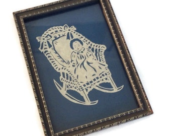 Vintage Framed Paper Cutout Baby in a Rocking Chair Framed Baby Nursery Paper Art Ivory on Dark Blue Wood Silhouette Paper Cutting Art