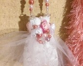 OOAK Christmas Ornament White Pink Wedding Pearls Gift