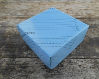 "One Handmade Origami Gift Box, Large (3"" / 7.5 cm) - Blue with Black Writing"