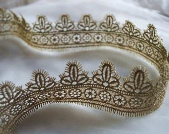 metellic gold lace trim, golden Crocheted trim Lace, gold scalloped trim lace