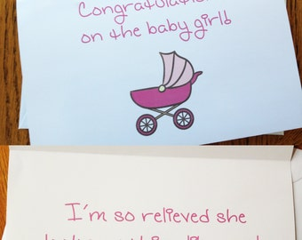 Congrats on the Baby Girl - funny greeting card