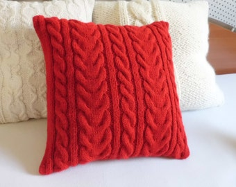 Custom Red Cable Knit Couch Pillow Case, Knit Throw Pillow, Hand Knit Pillow Cover, Knitted Cushion Cover, Decorative Couch Pillow