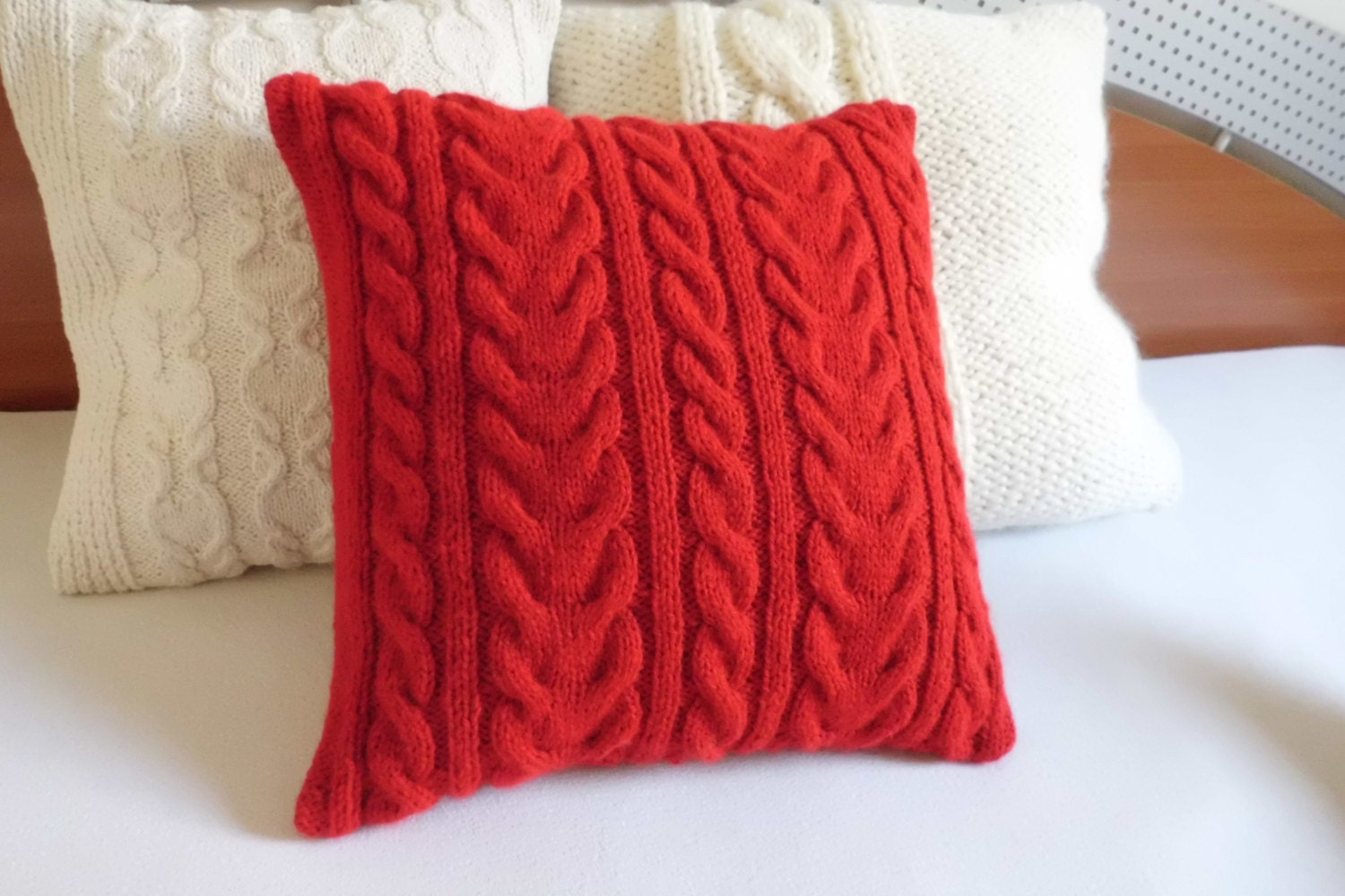 Red Cable Knit Pillow Cover Home Decor