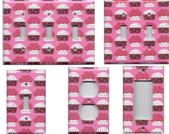 Pink Red & White Cupcakes and Sprinkles Light Switchplates and Wall Outlet Covers Home Decor Accents