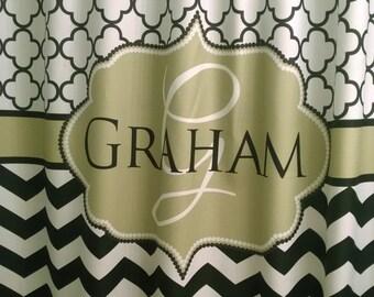 Shower Curtain Chevron Fabric Quatrefoil Lattice You Choose Colors 70, 74, 78, 84, 88, 96 Monogram Personalized Your Way