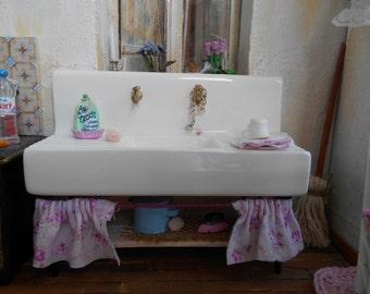 1/12 Porcelain kitchen sink | Shabby chic style | Cottage style | Dollhouse miniature furniture | Kitchen