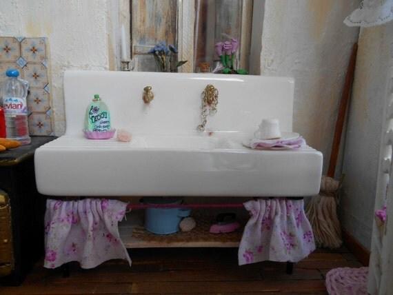 1 12 porcellana cucina lavello shabby chic stile stile for Acquaio cucina