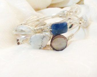 AB Clear Crystal On Wire Wrapped Bangle -  Oval Faceted Stone On Silver Non-Tarnish Wire