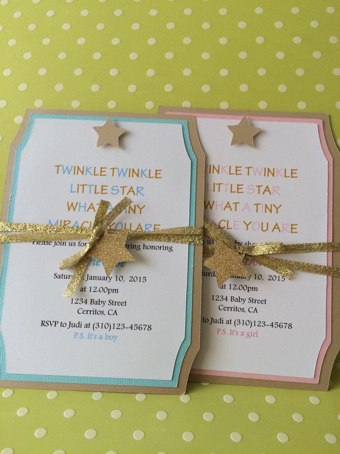handmade twinkle little star baby shower invitation