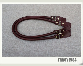 1 pair Full Grain Leather Purse Straps in Wine Color