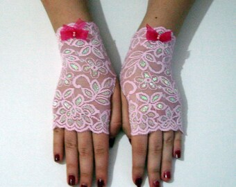 Pink lace gloves, pink wedding gloves, glittery evening gloves