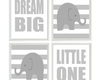 Elephant Nursery Art, Baby Boy Wall Art, Dream Big Little One Quote, Gray White Nursery, Stripes Elephant Nursery Prints, Wall Art, Gift