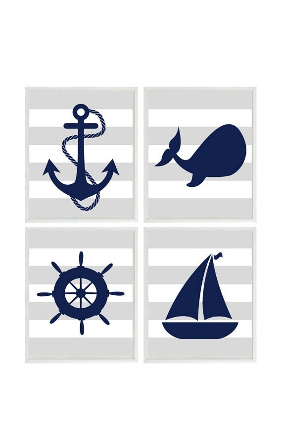 Navy Blue Wall Decor Nursery : Nautical wall art navy blue gray decor nursery