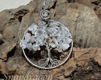 Clear quartz tree of life pendant