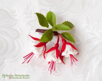 Brooch Fuchsia - Polymer Clay Flowers