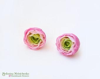 Earrings Ranunculus - Polymer Clay Flowers
