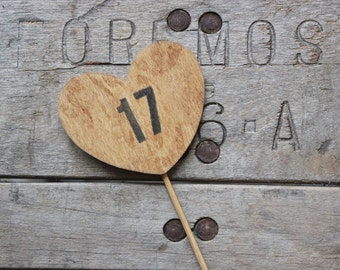 rustic heart table numbers on a stick . table number wedding centerpieces . heart table numbers .  woodland wedding numbers