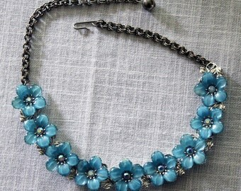 Blue Lucite Flower Necklace