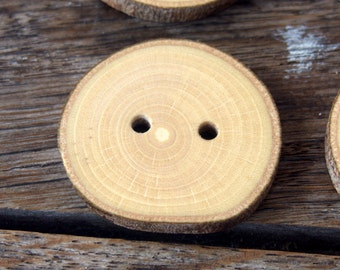 New - Wood Buttons - Branch Buttons -  Slim Handmade Wood Buttons - 6 large Handmade Walnut Tree branch buttons - 1 2/5 inches in diameter.