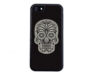 Dia De Los Muertos Sugar Black Skull for the iPhone 4/4s, 5/5s, 5c, 6/6s, 6/6s Plus, 7 or 7 Plus.