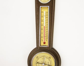 A 'Springfield' Weather Station - Barometer, Thermometer, Humidistat - Faux Wood Finish - Temperature
