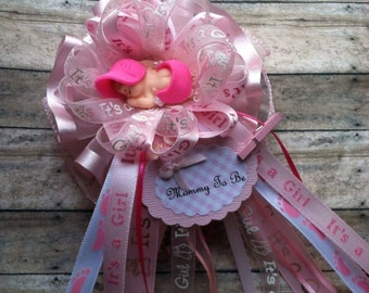 Pink Theme Baby Shower Mommy To Be Corsage Its a Girl Baby Shower Corsage Hot Pink & Light Pink Theme Baby Shower Corsage