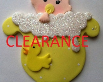 "Baby Shower ""Baby in Tub""  Little Duckies Baby Shower Theme Cake Topper, First Birthday Cake Topper, Party Favor, Baby Duckies Theme"