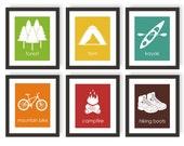 Outdoor Adventure Art - Forest Decor, Camping Decor, Kids Playroom Decor, Kayak Art, Mountain Bike Art, Hiking Art, Modern Kids Wall Art