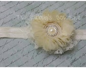 Ivory Pearls and Lace Flower Headband