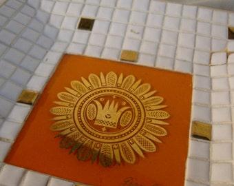 Vintage Georges Briard Mosaic Tile Serving Trays Plates Platters Gold Gilt Orange