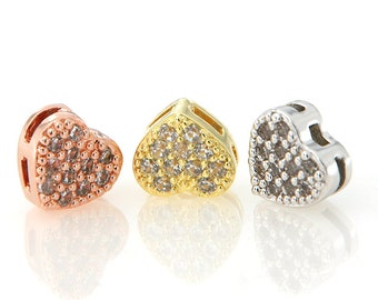 Heart Beads, CZ Micro Pave Beads, 7.2x7.8mm, Cubic Zirconia Pave on Copper, Pkg of 1 PCS, B0RG.P01